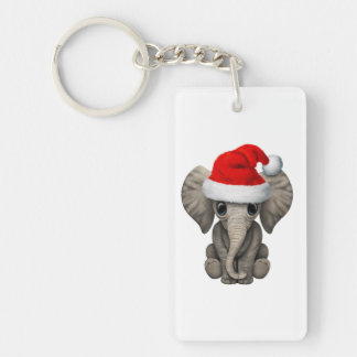 Baby Elephant Wearing a Santa Hat Keychain