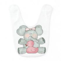 Baby Elephant White Girls Bib