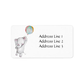 Baby Elephant with Balloon Address Label