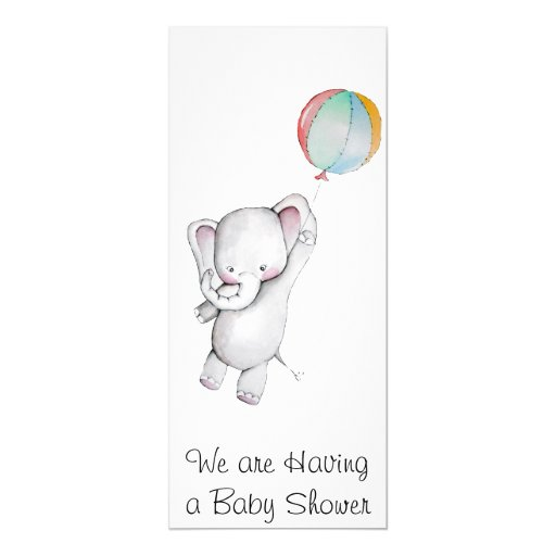 baby elephant with balloon baby shower invitation 4 x