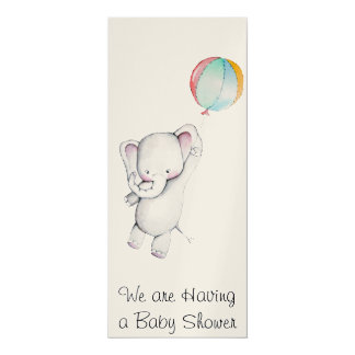 Baby Elephant with Balloon Baby Shower Invitation