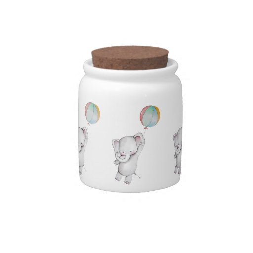 Baby Elephant with Balloon Candy Jar