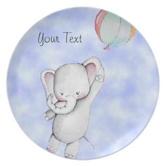 Baby Elephant with Balloon Customizable Plate
