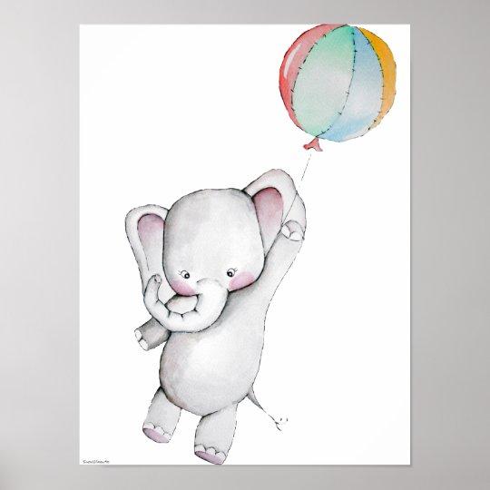 Baby Elephant With Balloon Customizable Poster Zazzle Com