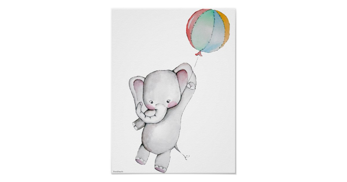 Baby Elephant With Balloon Customizable Poster Zazzle Com