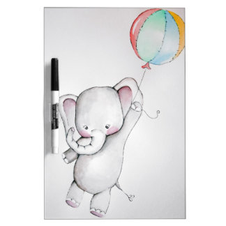 Baby Elephant with Balloon Dry Erase Board