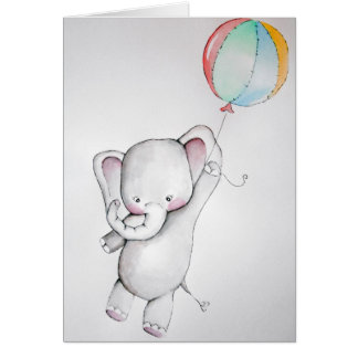 Baby Elephant with Balloon Greeting Card