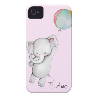 Baby Elephant with Balloon Pink iPhone 4 Case