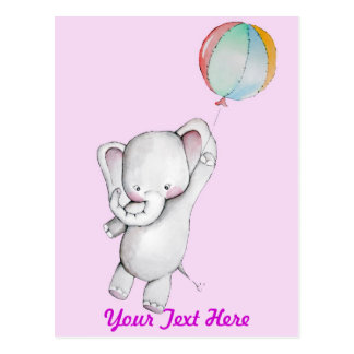 Baby Elephant with Balloon Pink Postcard