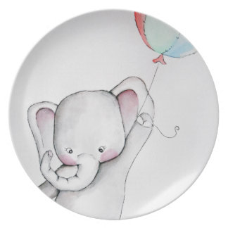 Baby Elephant with Balloon Plate