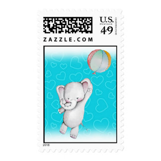 Baby Elephant with Balloon Postage Stamp