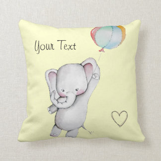 Baby Elephant with Balloon Yellow Throw Pillow