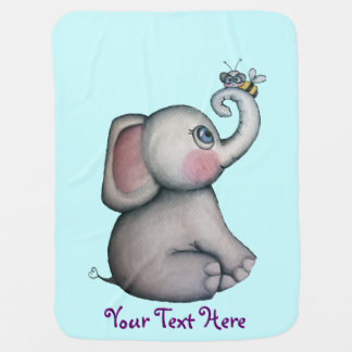 Baby Elephant with Bee Best Friend Baby Blanket