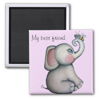 Baby Elephant with Bee Best Friend Magnet