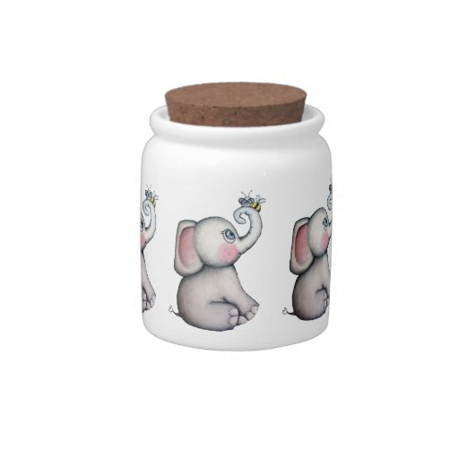 Baby Elephant with Bee Candy Jar
