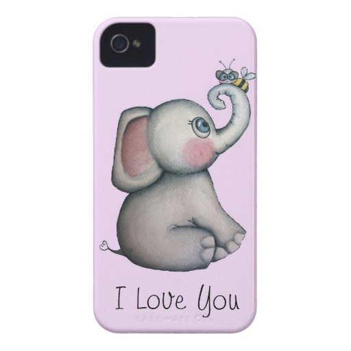 Baby Elephant with Bee iPhone 4 Case Pink