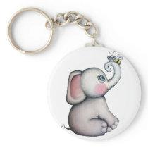 Baby Elephant with Bee Keychain