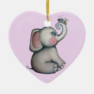 Baby Elephant with Bee Ornament Pink Background