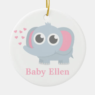 Baby Elephant With Love Girls Nursery Room Decor Ceramic Ornament
