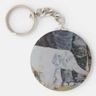 Baby Elephant with Mama Basic Round Button Keychain