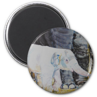 Baby Elephant with Mama 2 Inch Round Magnet