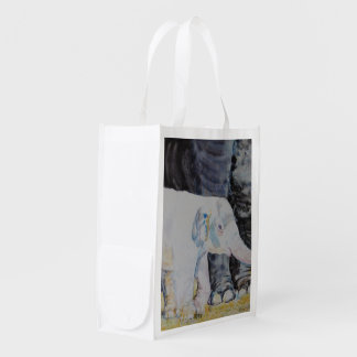 Baby Elephant with Mama Reusable Grocery Bag