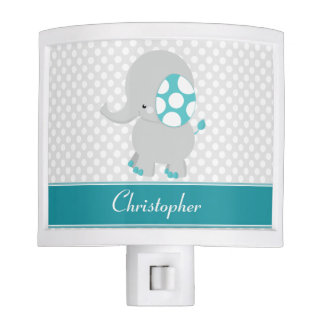 Baby Elephant with Polka-Dot Ears | Personalized Night Light