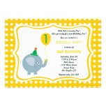 Baby elephant with  yellow polka dot background personalized invite