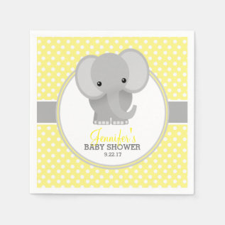 Baby Elephant (yellow) Baby Shower Paper Napkin at Zazzle