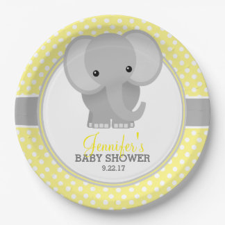 baby elephant yellow baby shower paper plate