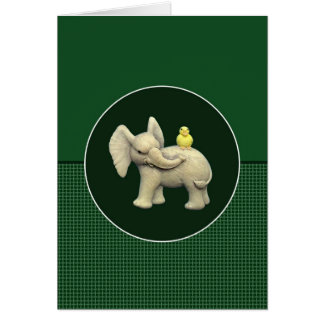 Baby Elephant & Yellow Duck Greeting Card