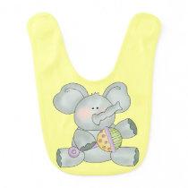 Baby Elephant Yellow Unisex Bib