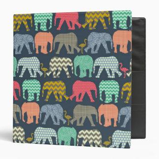 baby elephants and flamingos 3 ring binder