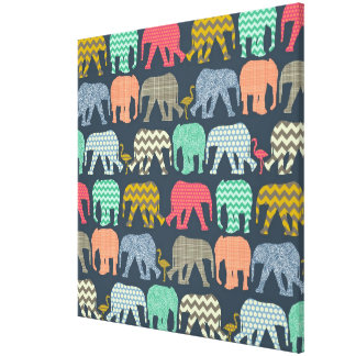 baby elephants and flamingos gallery wrapped canvas
