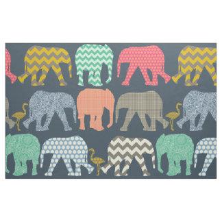 baby elephants and flamingos fabric