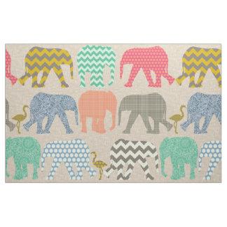 baby elephants and flamingos linen fabric