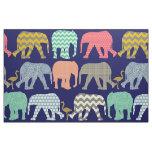 baby elephants and flamingos navy fabric