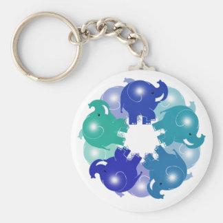 BABY ELEPHANTS BLUE BASIC ROUND BUTTON KEYCHAIN