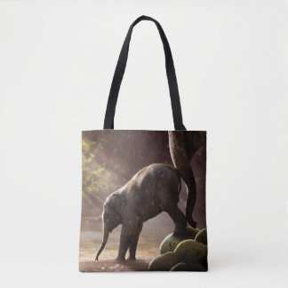 Baby Elephant's First Bath Tote Bag
