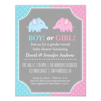 Baby Elephants Gender Reveal Party Polka Dots Card
