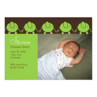 Baby Elephants Parade Birth Announcement - Green