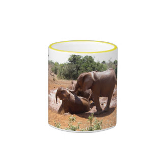 BABY ELEPHANTS WASHING IN KENYA RINGER COFFEE MUG