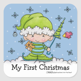 Baby Elf-Little Miracle-Personalize Square Sticker