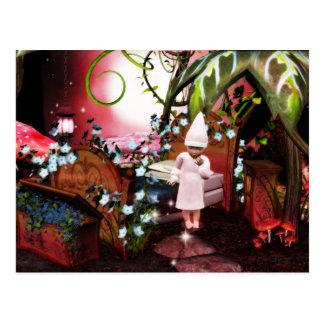 baby elf night magic lights postcard