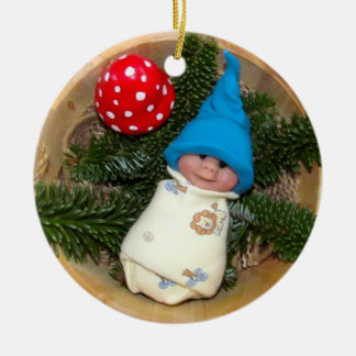 Baby Elf, Toadstool: Polymer Clay Sculptures Ceramic Ornament
