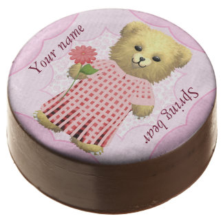 Baby Ella Bear's Spring bear Add your own name Chocolate Dipped Oreo