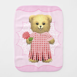 Baby Ella Bear's Spring bear Burp Cloth