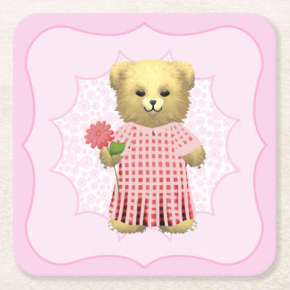 Baby Ella Bear's Square Paper Coaster