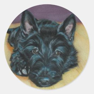 'Baby Em' - Scottie puppy Classic Round Sticker