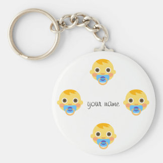 """Baby Emoji Face  and '' Your Name Here """" Keychain"""